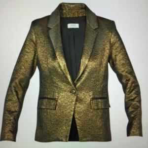 Veste blazer lamée or